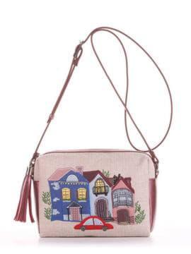 Модная сумка маленькая с вышивкой, модель 190221 бежевый-бордо-перламутр. Изображение товара, вид спереди.