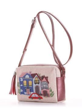 Модная сумка маленькая с вышивкой, модель 190221 бежевый-бордо-перламутр. Изображение товара, вид сбоку.