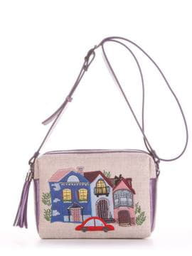 Модная сумка маленькая с вышивкой, модель 190222 бежевый-аметист. Изображение товара, вид спереди.
