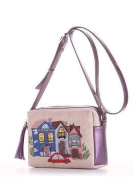 Модная сумка маленькая с вышивкой, модель 190222 бежевый-аметист. Изображение товара, вид сбоку.