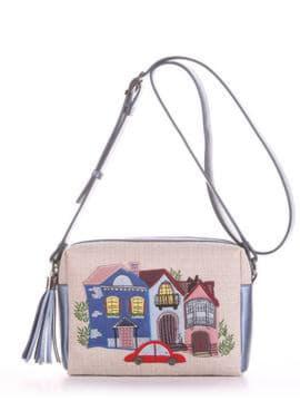 Молодежная сумка маленькая с вышивкой, модель 190223 бежевый-стальной синий. Изображение товара, вид спереди.
