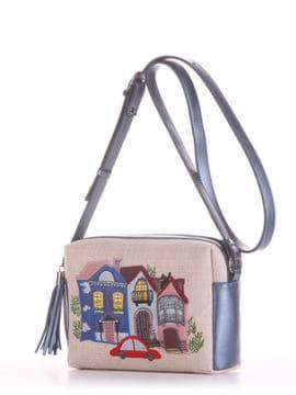 Молодежная сумка маленькая с вышивкой, модель 190223 бежевый-стальной синий. Изображение товара, вид сбоку.