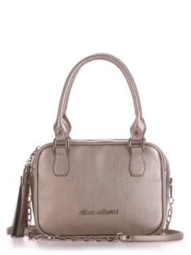 Модная сумка маленькая, модель 190241 золотая олива. Изображение товара, вид спереди.