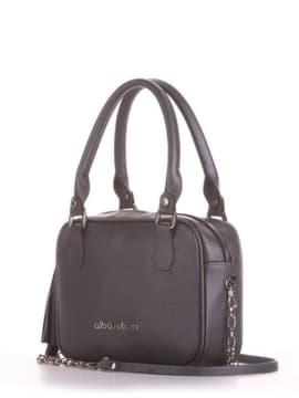 Модна сумка маленька, модель 190243 графіт. Зображення товару, вид збоку.