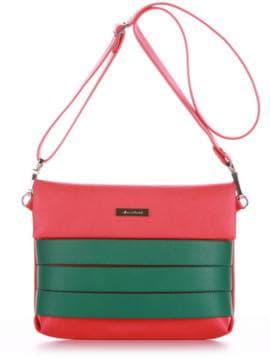 Стильная сумка маленькая, модель 190354 красный алый. Изображение товара, вид спереди.