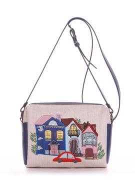 Летняя сумка маленькая с вышивкой, модель 190421 бежевый-синий. Изображение товара, вид спереди.