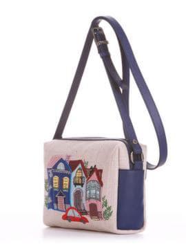 Летняя сумка маленькая с вышивкой, модель 190421 бежевый-синий. Изображение товара, вид сбоку.