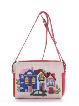 Летняя сумка маленькая с вышивкой, модель 190422 бежевый-красный. Изображение товара, вид спереди.