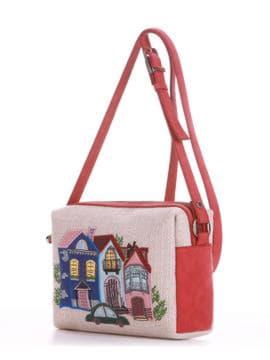 Летняя сумка маленькая с вышивкой, модель 190422 бежевый-красный. Изображение товара, вид сбоку.