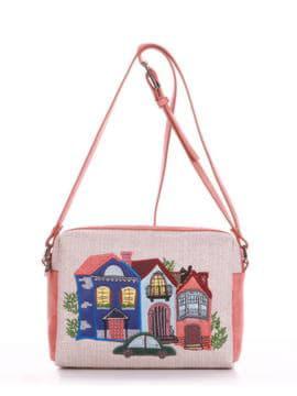Молодежная сумка маленькая с вышивкой, модель 190423 бежевый-персиковый. Изображение товара, вид спереди.