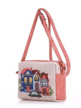 Молодежная сумка маленькая с вышивкой, модель 190423 бежевый-персиковый. Изображение товара, вид сбоку.
