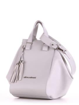 Брендовая сумка, модель 190025 светло-серый. Изображение товара, вид сбоку.