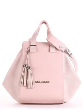 Летняя сумка, модель 190026 бежевый-розовый. Изображение товара, вид спереди.