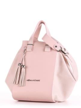 Летняя сумка, модель 190026 бежевый-розовый. Изображение товара, вид сбоку.