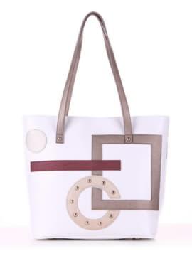 Летняя сумка с вышивкой, модель 190102 белый. Изображение товара, вид спереди.