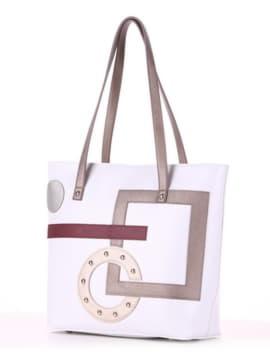 Летняя сумка с вышивкой, модель 190102 белый. Изображение товара, вид сбоку.
