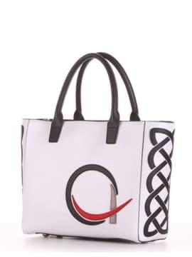 Летняя сумка с вышивкой, модель 190114 белый. Изображение товара, вид сбоку.