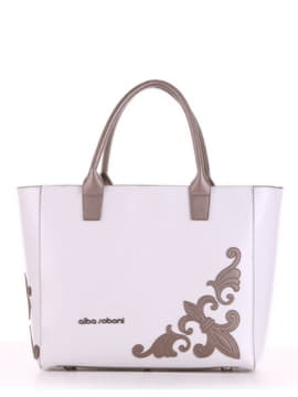 Летняя сумка с вышивкой, модель 190115 белый. Изображение товара, вид спереди.