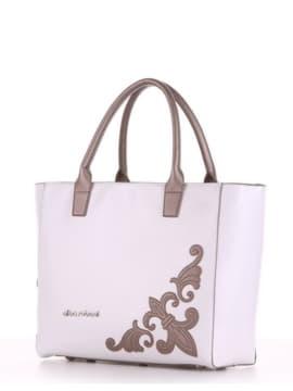 Летняя сумка с вышивкой, модель 190115 белый. Изображение товара, вид сбоку.