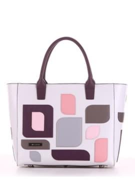 Брендовая сумка с вышивкой, модель 190116 белый. Изображение товара, вид спереди.