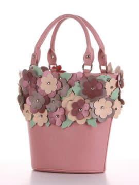 Летняя сумка, модель 190253 пудрово-розовый. Изображение товара, вид сбоку.