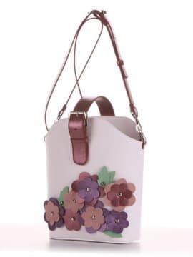 Летняя сумка, модель 190261 белый. Изображение товара, вид сбоку.
