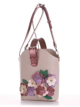 Летняя сумка, модель 190262 французский серый. Изображение товара, вид сбоку.