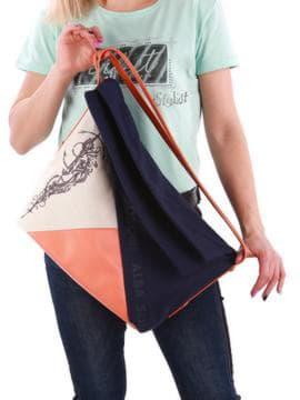 Летняя сумка с вышивкой, модель 190371 синий-оранжевый. Изображение товара, вид сзади.