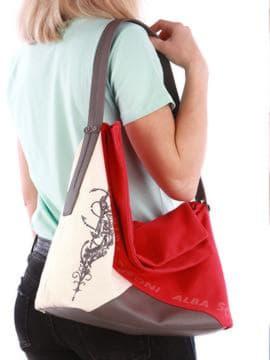 Стильная сумка с вышивкой, модель 190372 красный-темно-серый. Изображение товара, вид спереди.