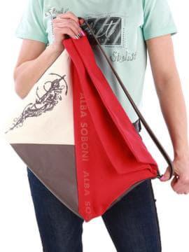 Стильная сумка с вышивкой, модель 190372 красный-темно-серый. Изображение товара, вид сзади.