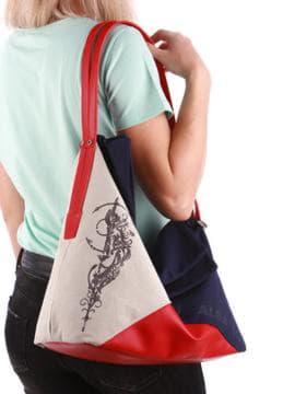 Летняя сумка с вышивкой, модель 190373 сине-красный. Изображение товара, вид спереди.
