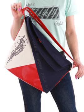 Летняя сумка с вышивкой, модель 190373 сине-красный. Изображение товара, вид сзади.