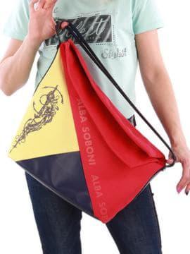 Летняя сумка с вышивкой, модель 190374 красно-синий. Изображение товара, вид сзади.