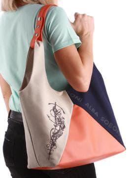 Брендовая сумка с вышивкой, модель 190381 синий-оранжевый. Изображение товара, вид спереди.