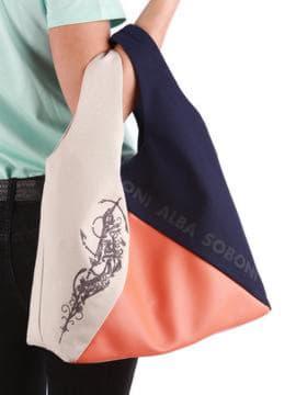 Брендовая сумка с вышивкой, модель 190381 синий-оранжевый. Изображение товара, вид сзади.