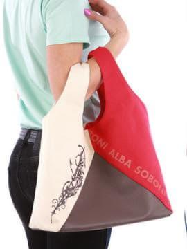 Женская сумка с вышивкой, модель 190382 красный-темно-серый. Изображение товара, вид сзади.