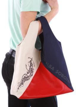Летняя сумка с вышивкой, модель 190383 сине-красный. Изображение товара, вид сзади.