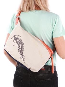 Стильная сумка с вышивкой, модель 190391 синий-оранжевый. Изображение товара, вид сзади.