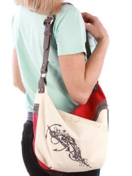 Летняя сумка с вышивкой, модель 190392 красный-темно-серый. Изображение товара, вид спереди.