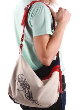 Молодежная сумка с вышивкой, модель 190393 сине-красный. Изображение товара, вид спереди.