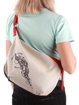 Молодежная сумка с вышивкой, модель 190393 сине-красный. Изображение товара, вид сзади.