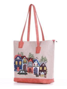 Летняя сумка с вышивкой, модель 190413 бежевый-персиковый. Изображение товара, вид сбоку.