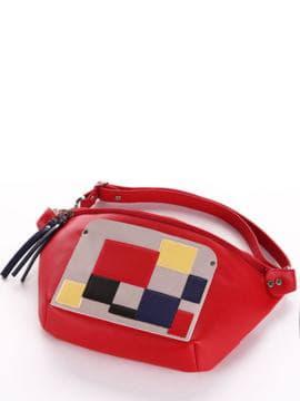 Летняя сумка через плечо, модель 190082 красный. Изображение товара, вид спереди.