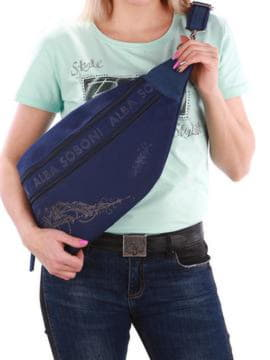 Модная сумка через плечо с вышивкой, модель 190091 синий. Изображение товара, вид спереди.