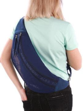 Модная сумка через плечо с вышивкой, модель 190091 синий. Изображение товара, вид сзади.