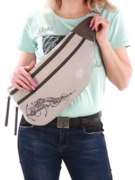 Летняя сумка через плечо с вышивкой, модель 190092 светло-серый. Изображение товара, вид спереди.