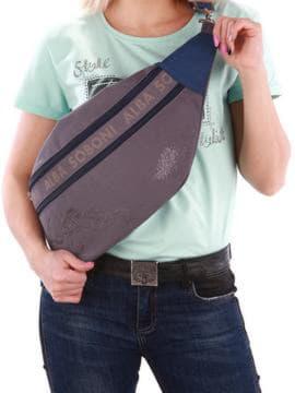 Молодежная сумка через плечо с вышивкой, модель 190093 серый. Изображение товара, вид спереди.