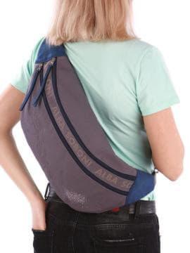 Молодежная сумка через плечо с вышивкой, модель 190093 серый. Изображение товара, вид сзади.