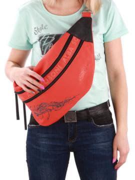 Стильная сумка через плечо с вышивкой, модель 190094 оранжевый. Изображение товара, вид спереди.