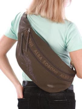 Стильная сумка через плечо с вышивкой, модель 190095 хаки. Изображение товара, вид сзади.